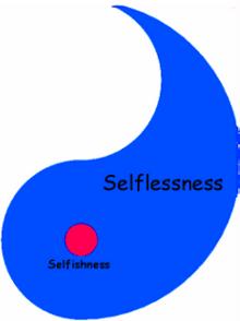 Blue Ying Yang Self Vs. Selfless Image