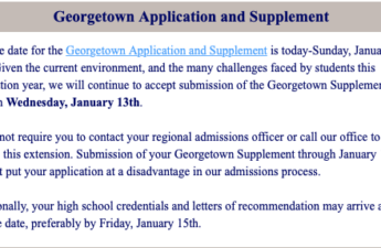 Georgetown Application and Supplement deadline extended